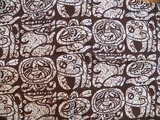 """Vintage 1960 Unique Chocolate Brown Batik Print Cotton Fabric 44"""" x 60"""""""
