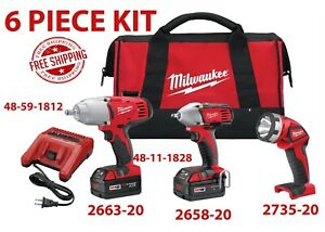 Milwaukee 2696-23 M18 Impact Wrench & Flashlight 3-Piece Combo Kit FREE SHIPPING