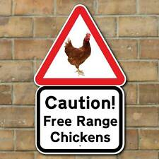 CAUTION FREE RANGE CHICKENS SIGN, Chicken Coop Sign, Girlies Outdoor Hen Plaque
