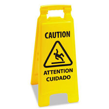 Boardwalk Caution Safety Sign For Wet Floors 2-Sided Plastic 11x1-1/2x26 Yellow