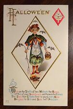 DIAMOND WITCH WALNUT SPELL BATS HALLOWEEN Fantasy Postcard PLAYING CARDS Nash