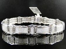 New Mens White Gold Finish Genuine Diamond Bracelet 3.25 Ct 12Mm 9 Inch Long