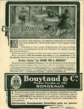 Publicité ancienne vieille bouteille Bouytaud & Cie 1908 issue de magazine