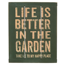 New Primitive Rustic Farmhouse Life Better In Garden Happy Place Sign Plaque