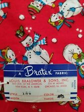 Vintage Christmas Fabric 1940s 50's Snowman Original Bratex Fabric 35x72 Flannel