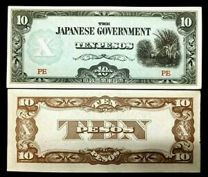 WWII Authentic - Japanese Government 10 Pesos Occupation Bill - Historical Bill
