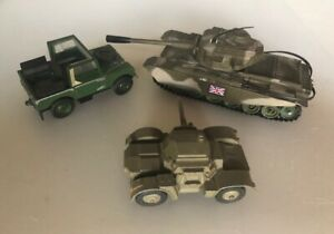 """Corgi Toys  Centurion MK111 and Dinky Land Rover and Small Tank No Boxes  """"Used"""""""