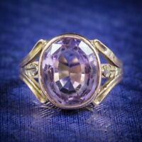 Antique Arts and Crafts Purple Spinel Ring 15ct Gold Circa 1900