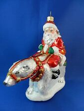 Santa Riding Polar Bear Blown Glass Christmas Tree Ornament Animal Poland 011261