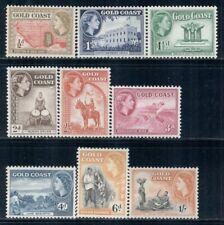 GOLD COAST 148-56 SG153-61 MNH 1953-54 QEII Defin short set of 9/12 Cat$8