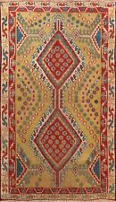 Antique Geometric Abadeh Vegetable Dye Hand-knotted Area Rug Wool Oriental 3'x4'