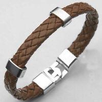 Fashion Men Women Leather Wrap Wristband Cuff Magnetic Clasp Bangle Bracelet