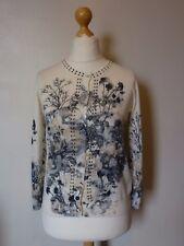 Linea Tesini Floral Embellished Button Down Cardigan Size 12 Uk NEW Cream