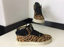 YSL YVES SAINT LAURENT Pony Hair Leopard Prin Hi Top Boots Size 36 Uk 3 Sneakers