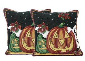 "DaDa Bedding Halloween Jack o Lantern Pumpkins Throw Pillow Covers Tapestry 16"""
