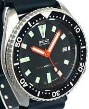 "Vintage mens watch SEIKO diver 7002 mod w/all Orange BAYONET & ""Box"" SS hand set"