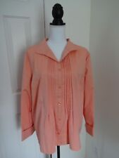 COLDWATER CREEK Womens PXL Orange Collar Cuff Pleated Button Blouse NWT$69