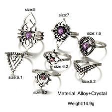 7Pcs/Set Antique Silver Purple Crystal Stack Midi Above Knuckle Finger Rings Set