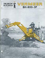 Equipment Brochure - Vermeer - Bh-800-3P - Farm Tractor Backhoe - c1978 (E3719)