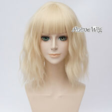 "14"" Lolita Light Blonde Medium Curly Women Party Cosplay Wig Heat Resistant+Cap"