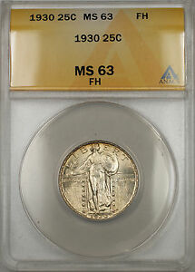 1930 Silver Standing Liberty Quarter Coin 25C ANACS MS-63 Full Head (11)