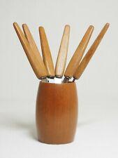 6 Obstmesser mit Teakholz-Griff und Solinger Klingen Holzbecher Danske Design