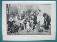 CIRCUS Music Band Drummers Waiting for River Ferry - VICTORIAN Era Print