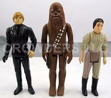 "Vintage Star Wars 77 Chewbacca 83 Jedi Luke & 84 Endor Princess Leia 3.75"" GMFGI"