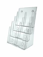 """Clear Acrylic 4-Tier Brochure Holder for 8.5""""w Literature"""
