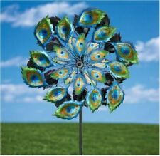 Wind Spinners For Garden Kinetic Energy Sculpture Whirligig Solar Light Peacock