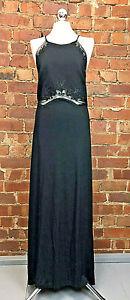 Joseph Ribkoff Black Maxi Evening Formal Occasion Beaded Dress Size 12