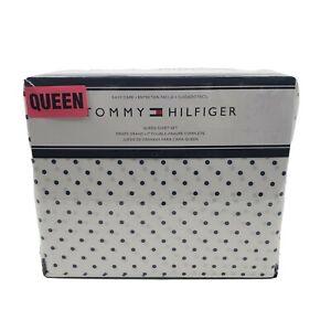 Tommy Hilfiger 4 Piece White Blue Polka Dots Cotton Blend Queen Sheet Set 1B