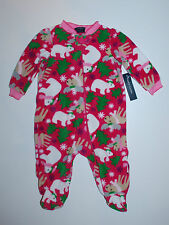Schlafanzug~USA~56-62~Strampler~Einteiler~Fleece~warm~pink~Pyjama Füßen~Eisbär ~
