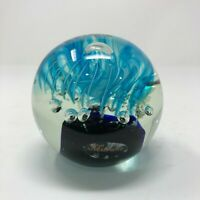 """Vtg Murano Glass Controlled Bubble Paperweight Blue 3"""" Round Art Glass Italian"""