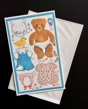 English Paper Doll Invitation Greeting Card, Teddy Bear & Clothes Unused, 1980's