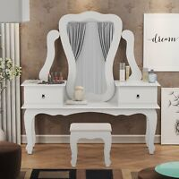 Angela Vanity with Bench, White, 02 drawers