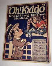 Sheet Music Oh Kiddo 1910s Great Illustration Couple Big Eyes Great wall art
