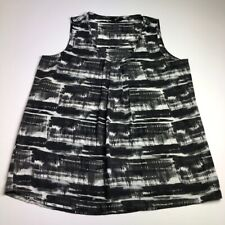 Gnw Women's Sleeveless Blouse Top Large L Multicolor Abstract Scoop Pleated Work