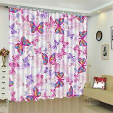 Pink Color Butterfly 3D Curtain Blockout Photo Printing Curtains Drape Fabric