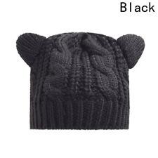 Women's Cute Cat Ear Winter Beanie Crochet Braided Knit Ski Wool Cap Hats Hot UK