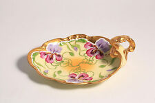 Antique Jean Pouyat Limoges France Hand Painted Iris Motif Porcelain Dish Gold