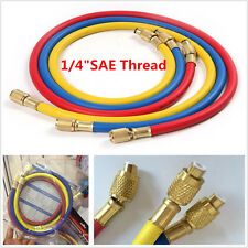 "3pcs 1/4"" SAE Thread AC Charging Hoses Tube Refrigerant R134a Air Conditioning"