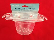 """Marine Blue 3X4X6"""" Toothbrush & Cup Holder with Suction Cups"""