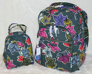 Vera Bradley Iconic LARGE Deluxe Campus Backpack Laptop Bag Lunch Bunch Set $162