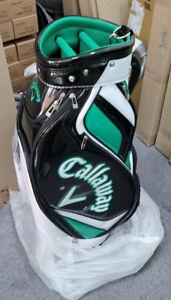 """Callaway CG SOLID Mens Caddie Bag 9"""" 5 Way 8.5lb PU Shoes Pocket UPS Black/Green"""