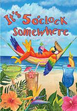 "Summer Beach Drink Tropical Its 5 Oclock Somewhere Mini Flag ""5 O'Clock Parrot"""