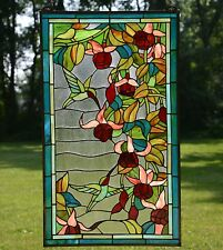 "Large Handcrafted stained glass window panel Hummingbirds & Flower, 20"" x 34"""