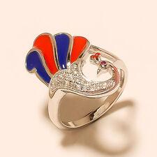 925 Sterlingsilver Peacock Enamel Designer Swaroski Fine Women Jewelry Ring Sz-7