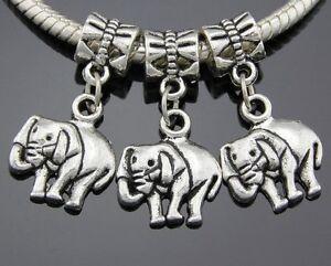 30pcs Antique Silver Tone Elephant Dangle Charms Fit European Bracelet ZY249