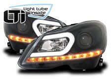 AuCo Light Tube LED Scheinwerfer Schwarz passend für Mercedes C-Klasse W204 S204